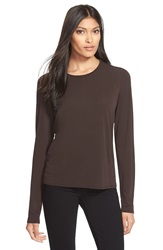 Eileen Fisher Scoop Neck Silk Tee Regular And Petite Chocolate