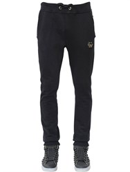 Philipp Plein Faux Leather And Cotton Jogging Pants