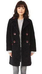 Diane Von Furstenberg Grayson Reversible Coat Royal Navy Red Onyx
