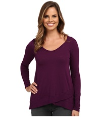 Mod O Doc Long Sleeve Crossover Rib Hem Tee Port Women's T Shirt Burgundy