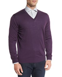 Ermenegildo Zegna High Performance Wool Sweater Purple Plum
