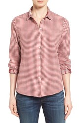 Barbour Women's 'Bower' Gingham Cotton Shirt Wine Gingham