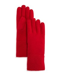 Bloomingdale's C By Waffle Knit Cashmere Gloves Cherry