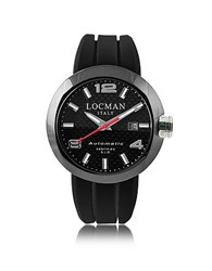 Locman One Automatico Black Pvd Stainless Steel Men's Watch W Leather And Silicone Band Set