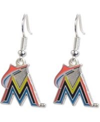 Aminco Miami Marlins Logo Drop Earrings Team Color