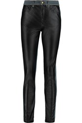 Mcq By Alexander Mcqueen Faux Leather Paneled Mid Rise Skinny Jeans Black