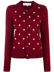 Comme Des Garcons Girl Beaded Polka Dot Cardigan Red