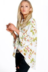 Boohoo Floral Curved Hem 3 4 Sleeve Shirt White