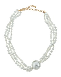 Kenneth Jay Lane Layered Pearlescent Bead Statement Necklace