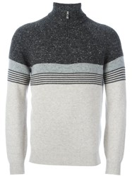 Brunello Cucinelli Striped Henley Jumper Grey