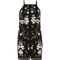 River Island Womens Black And Gold Embellished Playsuit