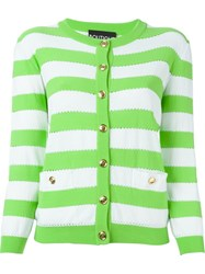 Boutique Moschino Striped Cardigan Green