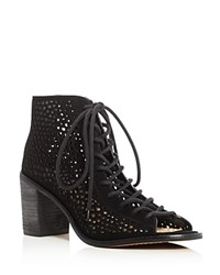 Vince Camuto Tulina Perforated Lace Up Booties Black
