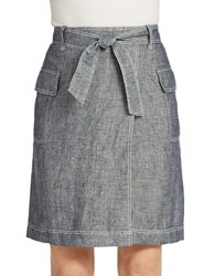 Lord And Taylor Linen Chambray Faux Wrap Skirt Evening Blue