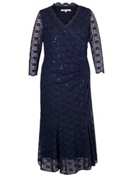 Chesca Scallop Lace Sequin Trim Dress Navy
