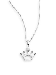 Bliss Gioielli Special Moments 0.01 Tcw Diamond And 18K White Gold Crown Pendant Necklace