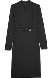 Max Mara Tivoli Stretch Wool Crepe And Silk Crepe De Chine Dress Black