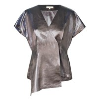 Leka Nyc Metallic Short Sleeve Chiffon Blouse Brown