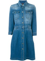 7 For All Mankind Classic Denim Shirt Dress Blue