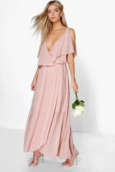 Boohoo Chiffon Double Layer Wrap Maxi Dress Blush