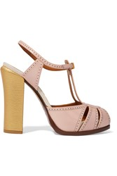 Fendi Chameleon Perforated Patent Leather Sandals Pink