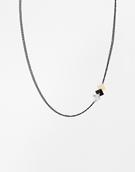 Asos Necklace With Geometric Side Pendant Multi