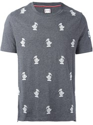 Moncler Gamme Bleu Embroidered Bird T Shirt Grey