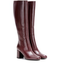 Saint Laurent Babies 70 Leather Knee High Boots Red