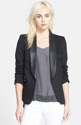 James Jeans Faux Leather Lapel Ponte Blazer Black Ponte
