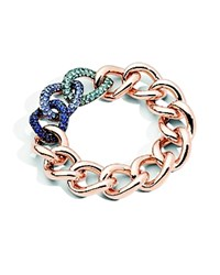 Pomellato Tango Bracelet In 18K Rose Gold With Aquamarine Tanzanite And Blue Sapphire Set In Burnished Silver Blue Rose