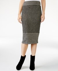 Rachel Roy Striped Knit Midi Skirt Only At Macy's Canvas Black