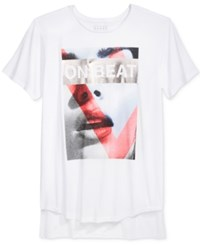 Guess Men's On Beat Graphic Print T Shirt True White