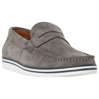 Dune Brightling Wedge Sole Suede Loafers Grey