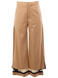 Undercover Contrast Hem High Waisted Trousers Nude And Neutrals
