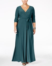 Love Squared Plus Size Faux Wrap Maxi Dress Teal