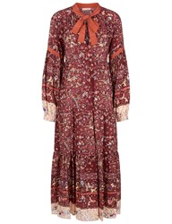 Ulla Johnson Ruby Silk Bird And Floral Print Isabetta Dress Red