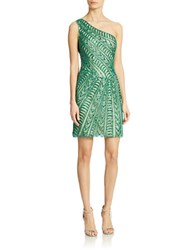 Basix Ii One Shoulder Silk Sheath Dress Green