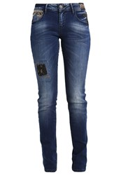 Desigual Straight Leg Jeans Denim Dark Blue Multicoloured