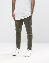 Asos Slim Cropped Chino Joggers In Dark Green Forest Night