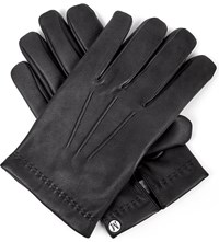 Mulberry Logo Detail Nappa Leather Gloves Black