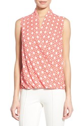 Pleione Women's Sleeveless Faux Wrap Blouse Coral White Floral Stamp