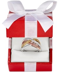 Macy's Diamond Bypass Ring In Sterling Silver 14K Rose Gold And 14K Gold 1 4 Ct. T.W. No Color