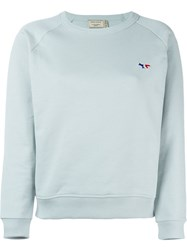 Maison Kitsune Tricolor Fox Patch Sweatshirt Green