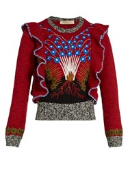 Valentino Enchanted Volcano Ruffled Shoulder Sweater Red Multi