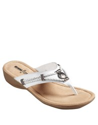 Minnetonka Silverthorne Metal Detail Wedge Sandals White Leather