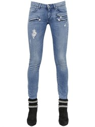 Balmain Destroyed Stretch Cotton Denim Jeans