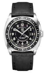 Men's Luminox 'P 38 Lightning Gmt' Leather Strap Watch 44Mm