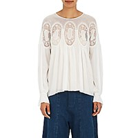 Chloe Women's Lace Inset Peasant Blouse White