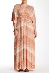 White Label By Rachel Pally Print Jersey Knit Kaftan Maxi Dress Plus Size Multi