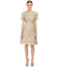 Marchesa Ornate Laser Cut And Threadwork Brocade Cocktail With Cap Sleeves Gold